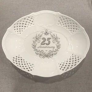 Happy 25th Anniversary white Display  Dish
